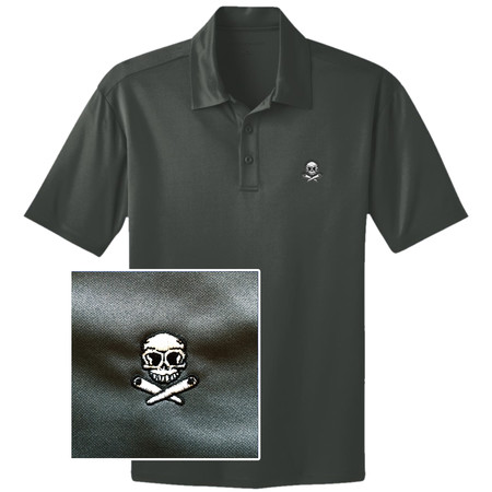 Skull & Crossed Flippers Pinball Polo Shirt - Grau M