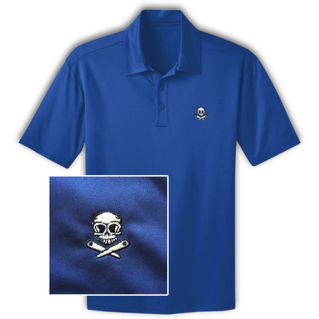 Skull & Crossed Flippers Pinball Polo Shirt - Blau L